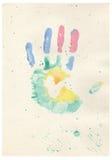 Stampa della mano del bambino di colore Fotografia Stock Libera da Diritti