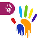 Stampa della mano dell'arcobaleno Fotografie Stock Libere da Diritti