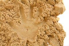 Stampa della mano della sabbia Fotografia Stock