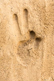 Stampa della mano sui precedenti di struttura della spiaggia di sabbia Immagine Stock Libera da Diritti