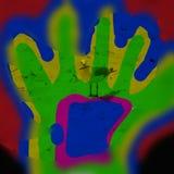 Stampa della mano sulla spiaggia Fotografia Stock