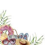 Stampa della spiaggia di estate dell'acquerello Struttura dipinta a mano di vacanze estive con gli oggetti: occhiali da sole, cap Immagine Stock Libera da Diritti