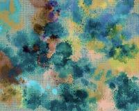 Stampa della tela Macchia delle pitture acriliche Fondo dipinto a mano astratto creativo Colpi di verniciatura acrilica su tela A illustrazione vettoriale