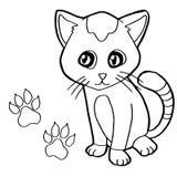 Stampa della zampa con il vettore della pagina di coloritura del gatto Immagini Stock Libere da Diritti