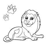 Stampa della zampa con il vettore di Lion Coloring Pages Fotografia Stock