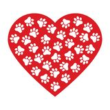 Stampa della zampa del cane fatta del fondo rosso dell'illustrazione di vettore del cuore illustrazione di stock