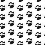 Stampa della zampa senza cuciture Modello senza cuciture di orma del gatto e del cane Illustrazione di vettore Fotografia Stock Libera da Diritti