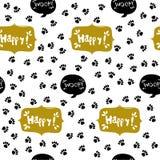 Stampa della zampa senza cuciture Tracce di Cat Textile Pattern Immagini Stock