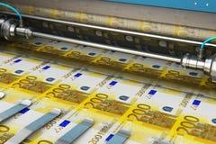 Stampa delle 200 banconote euro dei soldi illustrazione di stock