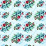 Stampa delle rose dell'acquerello Fondo Il disegno dell'acquerello Reticolo senza giunte Immagini Stock Libere da Diritti