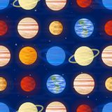 Stampa dello spazio Reticolo senza giunte di vettore Pianeti del sistema solare su un fondo scuro Universo, spazio cosmico illustrazione vettoriale