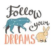 Stampa di boho di vettore con gli animali, stelle e frase di scrittura della mano - segua i vostri sogni progettazione di modo di Fotografie Stock Libere da Diritti