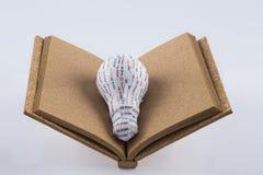 Stampa di CYMK 3D: lampadina sul libro in bianco del sughero Immagine Stock