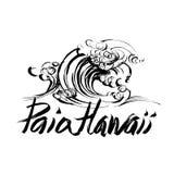 Stampa disegnata a mano di serigrafia di schizzo dell'inchiostro della spazzola dell'iscrizione di Paia Hawai Fotografie Stock