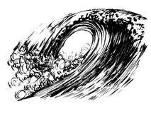 Stampa disegnata a mano di serigrafia di schizzo dell'inchiostro della spazzola delle onde Immagine Stock Libera da Diritti