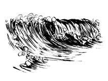 Stampa disegnata a mano di serigrafia di schizzo dell'inchiostro della spazzola delle onde Fotografie Stock