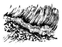 Stampa disegnata a mano di serigrafia di schizzo dell'inchiostro della spazzola delle onde Immagini Stock
