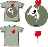 Stampa divertente della camicia del biglietto di S. Valentino con la progettazione piana del pallone del cuore e dell'orsacchiott Fotografia Stock Libera da Diritti