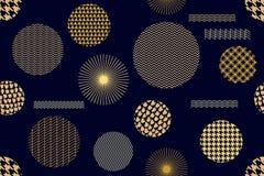 Stampa dorata giapponese Modello senza cuciture di vettore con differenti forme geometriche Fotografia Stock