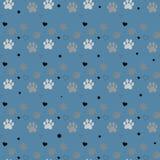 Stampa e cuore della zampa senza cuciture Tracce di Cat Textile Pattern Modello senza cuciture di orma del gatto Vettore senza gi illustrazione di stock