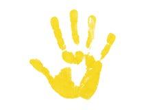 Stampa gialla della mano Immagini Stock