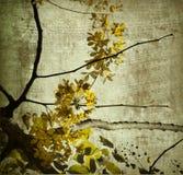 Stampa gialla di arte del fiore del Kerala del grunge Fotografia Stock Libera da Diritti