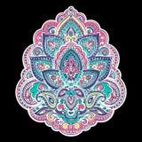 Stampa indiana della Boemia dell'asciugamano della mandala Stile d'annata del tatuaggio del hennè illustrazione di stock
