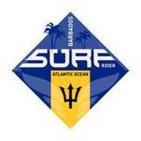 Stampa ispiratrice Etichetta dei surfisti dell'Oceano Atlantico Coas delle Barbados royalty illustrazione gratis