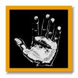 Stampa nera della mano del gesso della scheda Immagine Stock