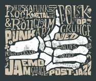 Stampa per la maglietta Musica rock grunge Illustrazione di vettore Fotografie Stock