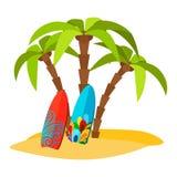 Stampa piana praticante il surfing di vettore pacifico della spiaggia royalty illustrazione gratis