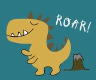 Stampa puerile di vettore del ragazzo del dinosauro illustrazione chldish per la maglietta, modo dei bambini, tessuto royalty illustrazione gratis