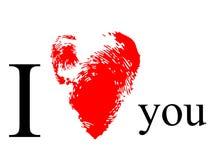 Stampa rossa del cuore Fotografie Stock Libere da Diritti