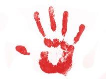 Stampa rossa della mano Immagini Stock