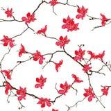 Stampa senza cuciture cinese dell'albero rosso del cotone Immagine Stock Libera da Diritti