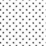 Stampa senza cuciture del modello di pois dei punti neri della spazzola Fotografia Stock