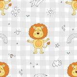 Stampa sveglia del modello del leone per i bambini Fotografia Stock Libera da Diritti