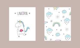 Stampa sveglia dell'unicorno per i bambini Illustrazione di vettore Fotografie Stock