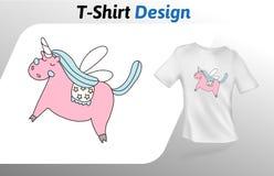 Stampa vaga rosa della maglietta dell'unicorno Derisione sul modello di progettazione della maglietta Modello di vettore, isolato Immagine Stock