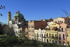 Stampace. View of Stampace district in Cagliari with Sant Anna church Royalty Free Stock Photography