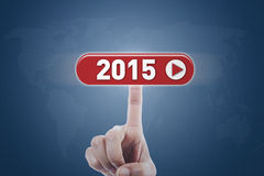 Stampaggio a mano un bottone futuro Fotografia Stock Libera da Diritti