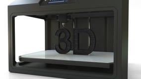 Stampando testo volumetrico nero con la stampante moderna 3D, rappresentazione 3D Fotografia Stock Libera da Diritti