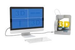 stampante 3d collegata al desktop computer Fotografia Stock