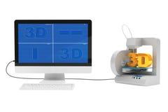 stampante 3d collegata al desktop computer Immagini Stock