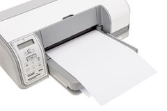 Stampante di ufficio con carta per la stampa del testo Immagini Stock
