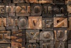 Stampatore anziano Letters Spell fuori ti amo Fotografia Stock