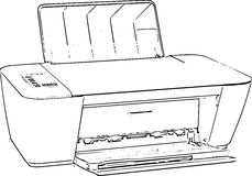 Stampatore Line Art Drawing Immagini Stock