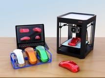 stampatrice 3D e computer portatile illustrazione vettoriale