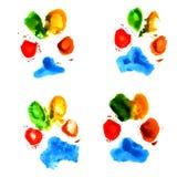 Stampe animali della zampa dell'acquerello Fotografia Stock