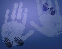 Stampe blu-chiaro della mano Fotografia Stock